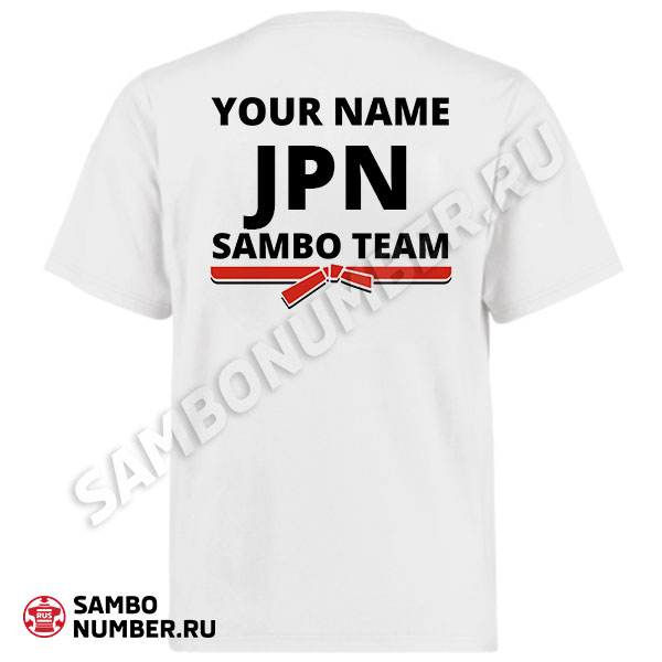 Japan White Personalized Name & Backnumber Logo T-Shirt
