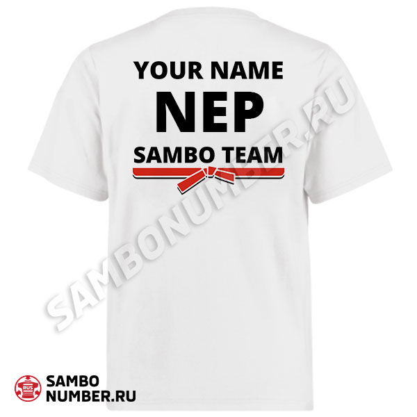Nepal White Personalized Name & Backnumber Logo T-Shirt